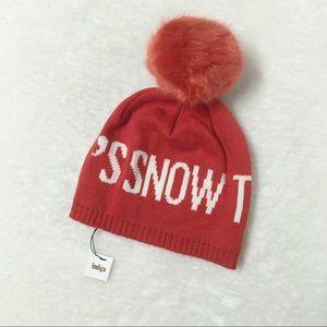 Indigo Wool Tuque Pom Pom Red Snow Fuzzy